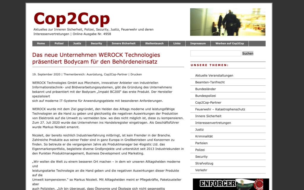 Cop2Cop Website Screenshot