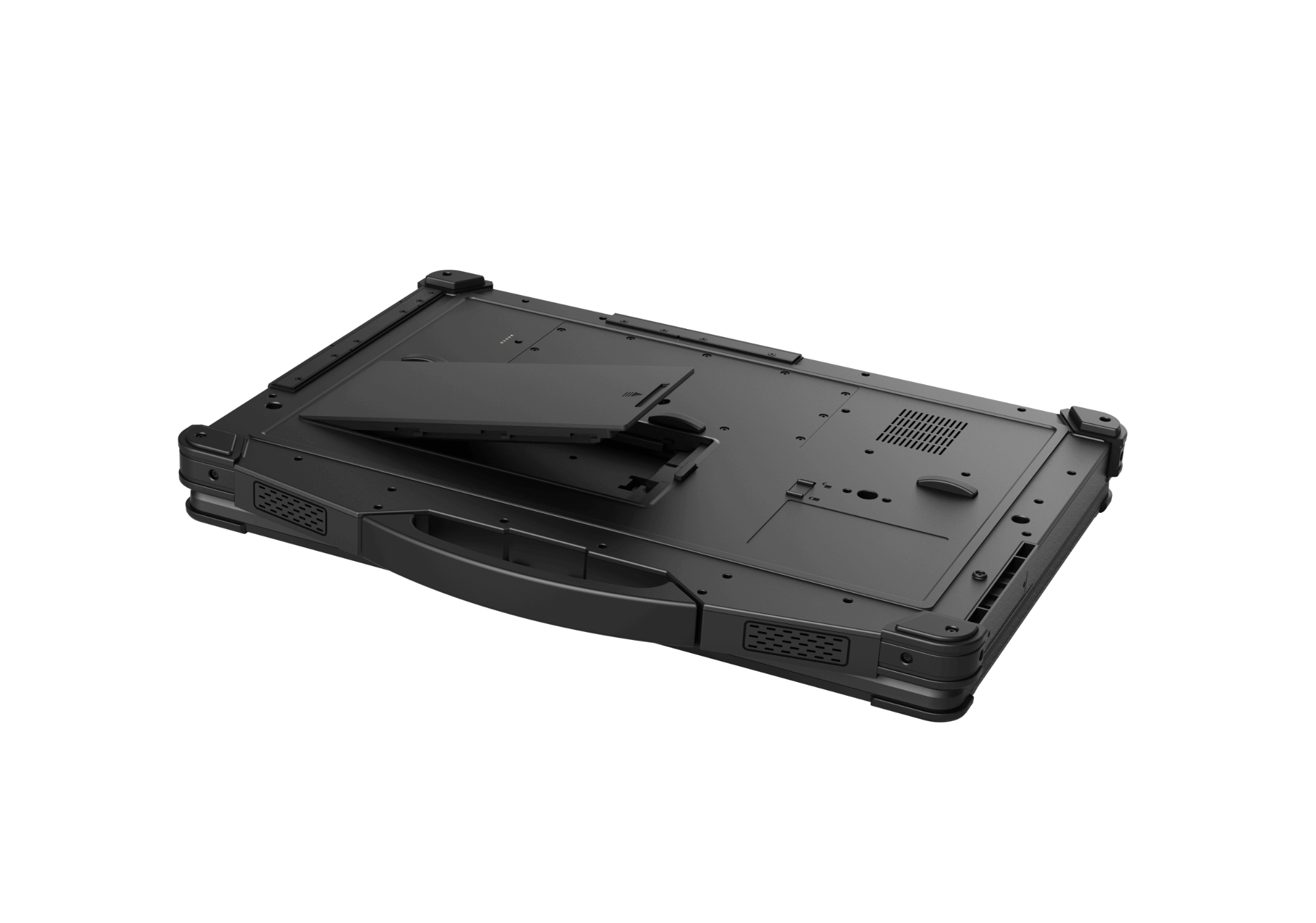 Bottom view of rugged notebook with battery outside