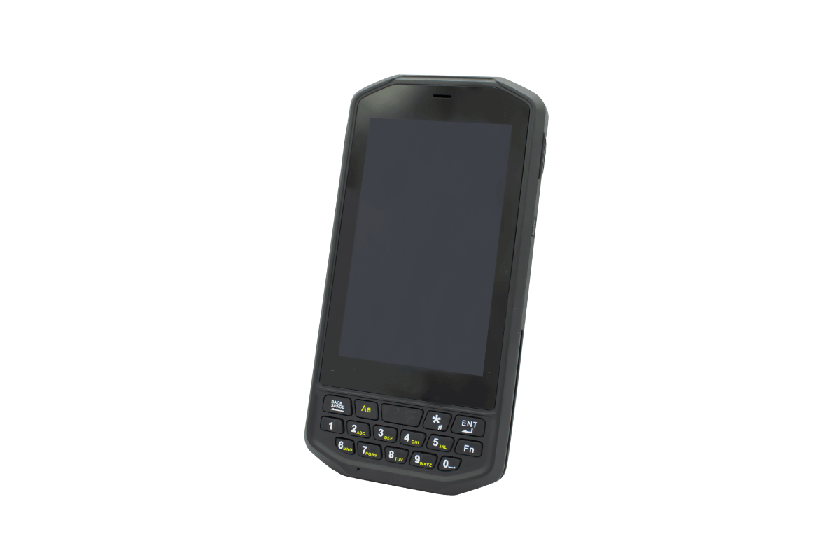Scoria A104 Rugged Handheld view from front wth black screen