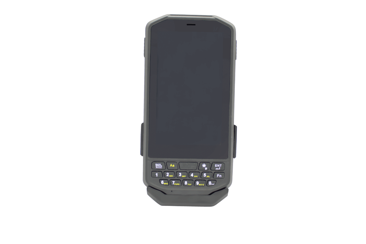 Scoria A104 Rugged Handheld view from front with snap on battery