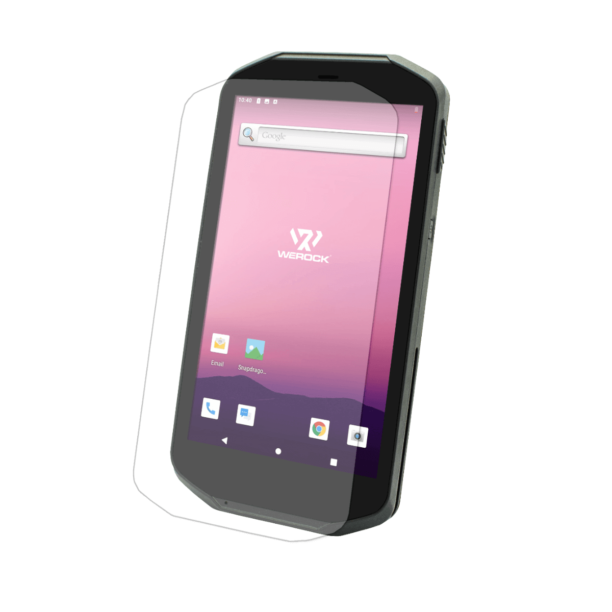 Scoria A105 Rugged Handheld view from front with stilizied screen protector