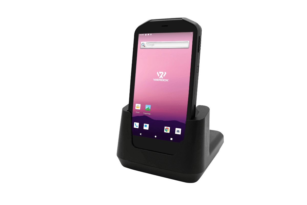 Scoria A105 Rugged Handheld placed in charging station
