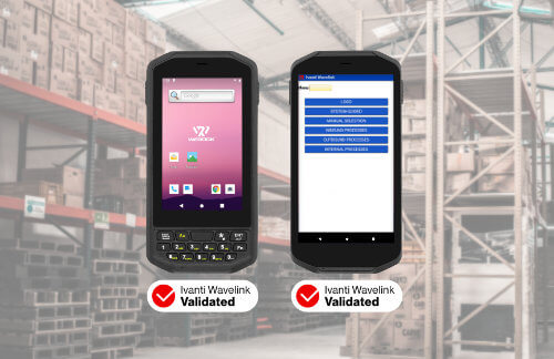 Collage of two Rugged Handheld PDA devices and Ivanti wavelink validated Logos with a warehouse environment in the background
