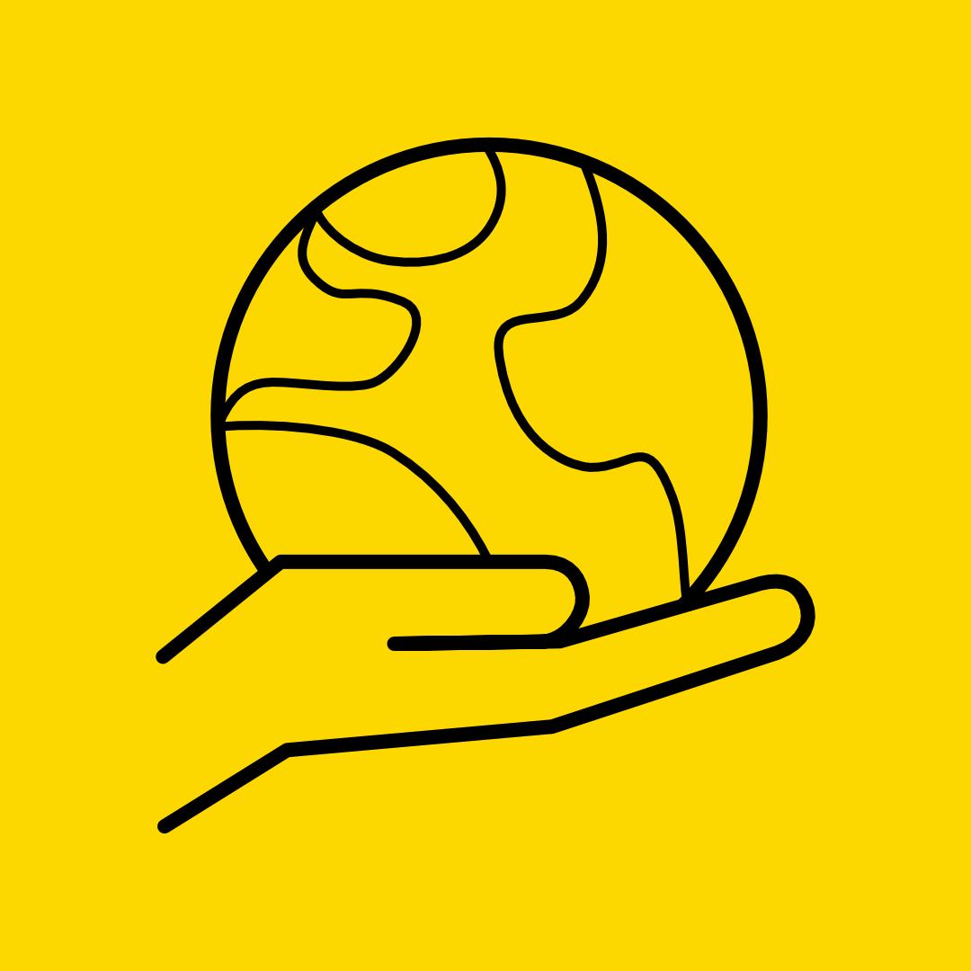 Symbol mit einer in der Hand gehaltenen Erde